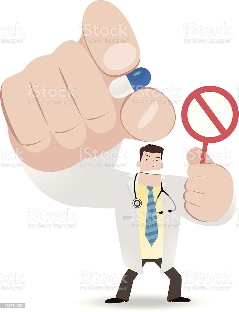 Doctor pinching a pill and holding prohibition sign royalty-free stock vector art