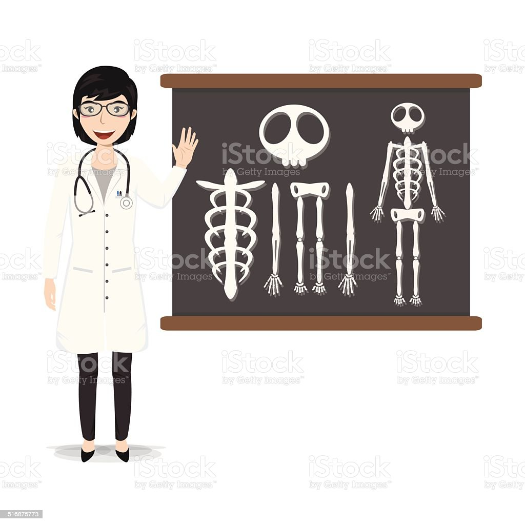 Doctor presenting skeleton on blackboard vector illustration vector art illustration