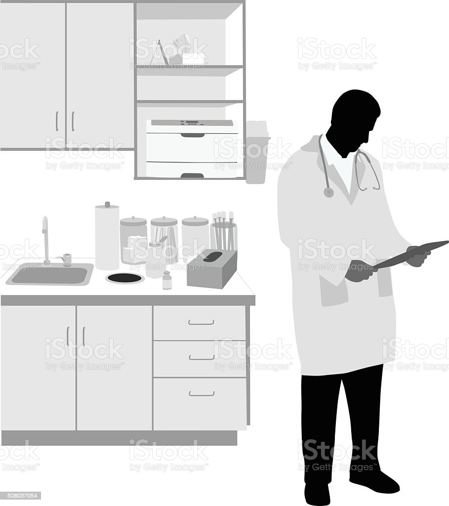 Doctor Reading Patient's History vector art illustration