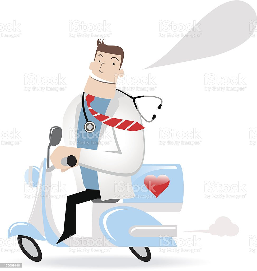 Doctor Riding A Motorcycle royalty-free stock vector art