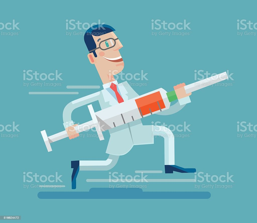 Doctor run with syringe. Vector flat illustration vector art illustration