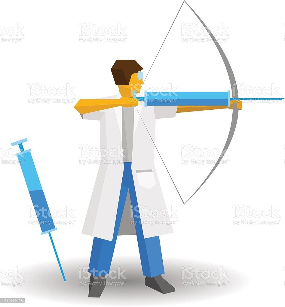 Doctor shooting a syringe like an archer. Medicine concept. vector art illustration