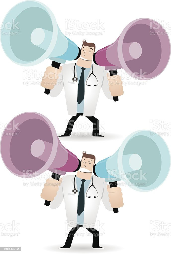 Doctor shouting trough two megaphones vector art illustration