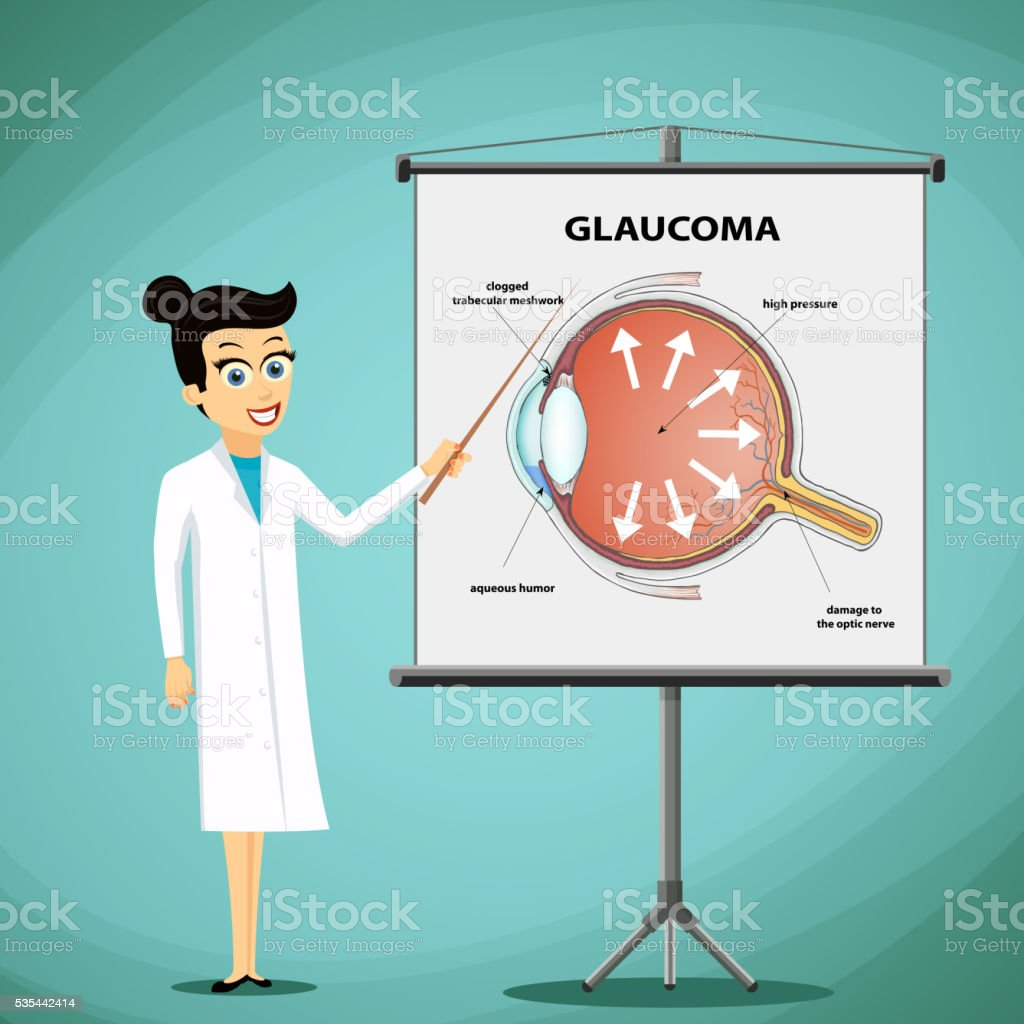 Doctor shows on a blackboard diagram of the human eye. vector art illustration