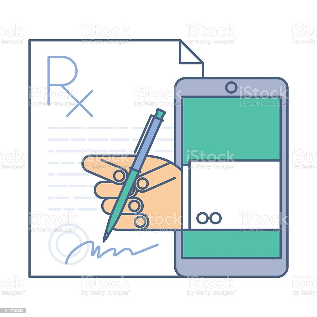 Doctor signing a prescription rx blank by phone. Online medicine vector art illustration