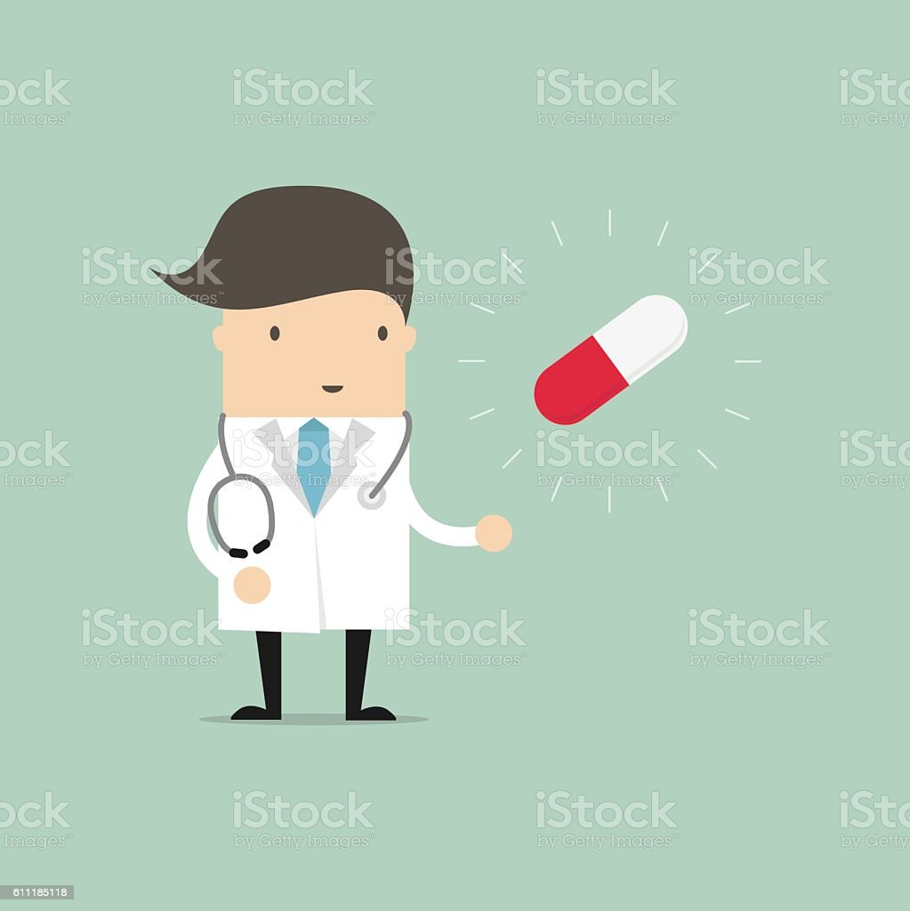 Doctor standing with pill capsule. vector art illustration