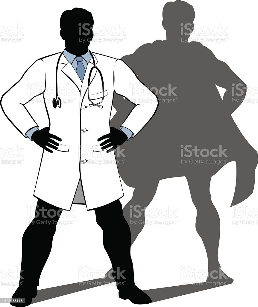 Doctor Super Hero Silhouette vector art illustration