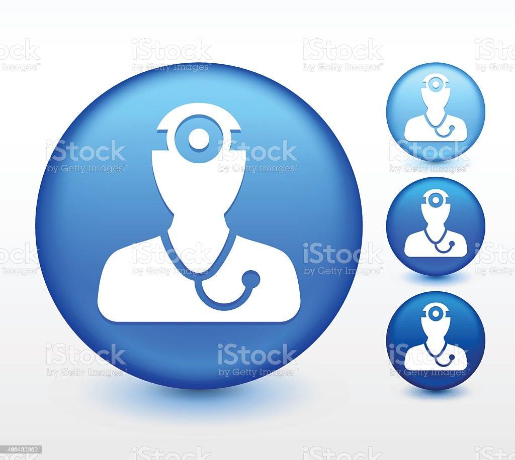 Doctor Surgeon on Blue Round Button vector art illustration
