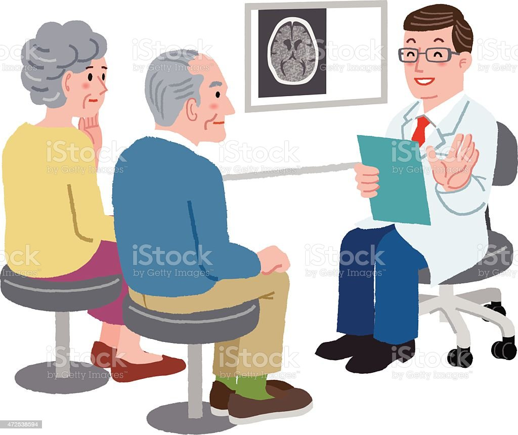 Doctor talking with his patient and the family vector art illustration