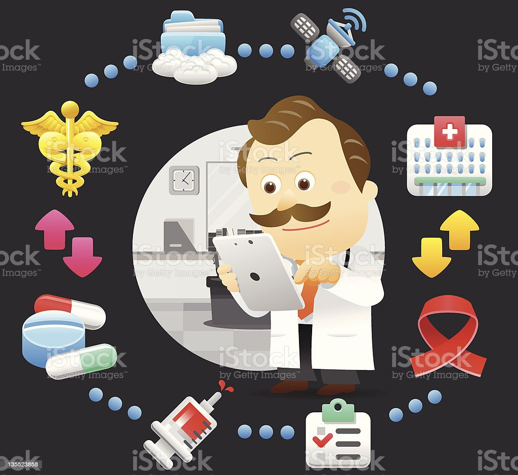 Doctor useing Tablet PC royalty-free stock vector art