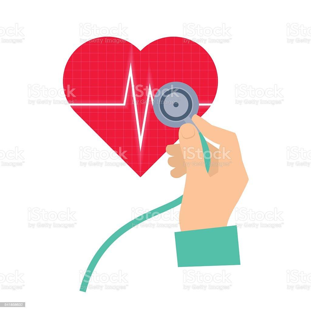Doctor using a stethoscope hears a heart pulse. vector art illustration