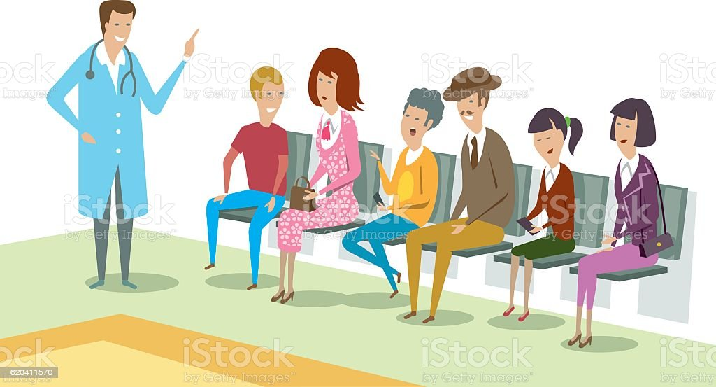 Doctor Waiting Room vector art illustration