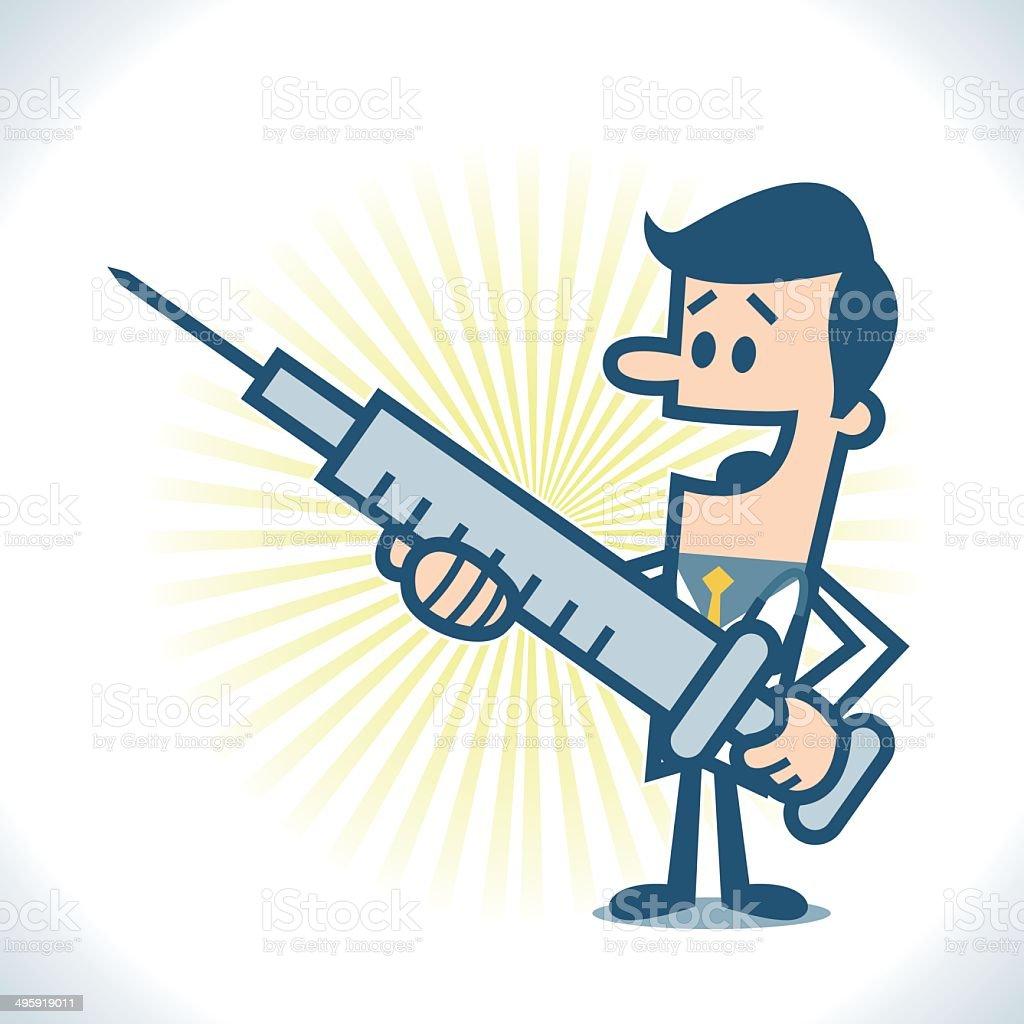 Doctor with big syringe vector art illustration