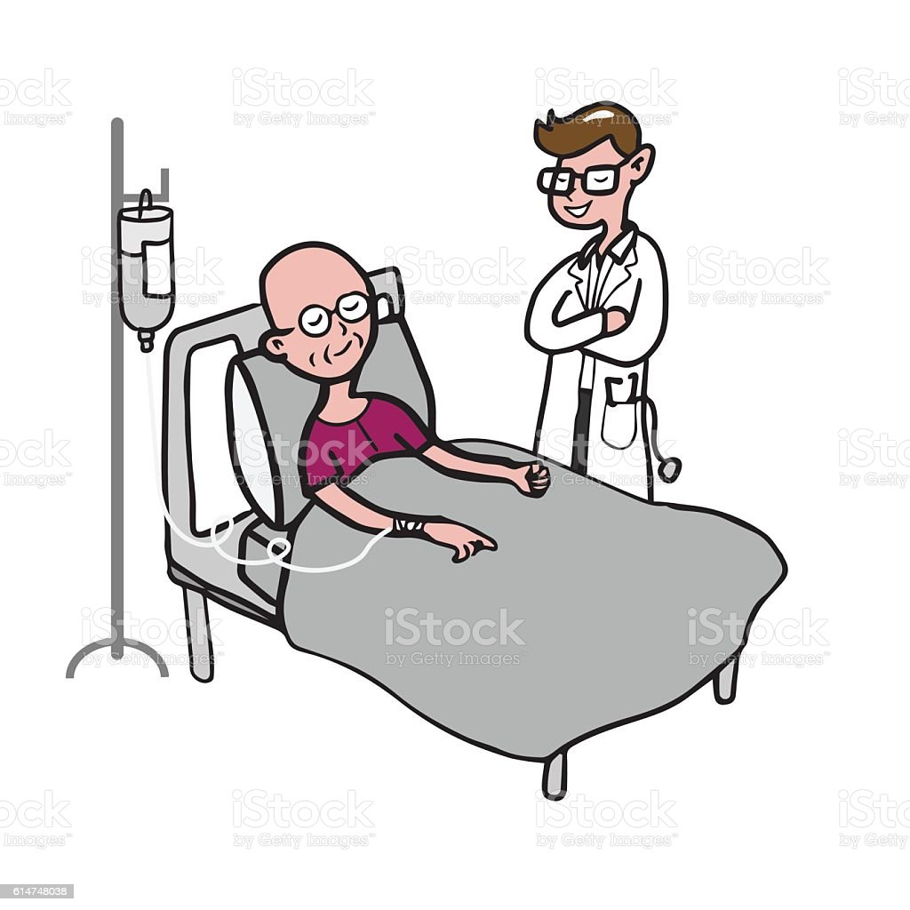 Doctor with chemo therapy patient vector art illustration