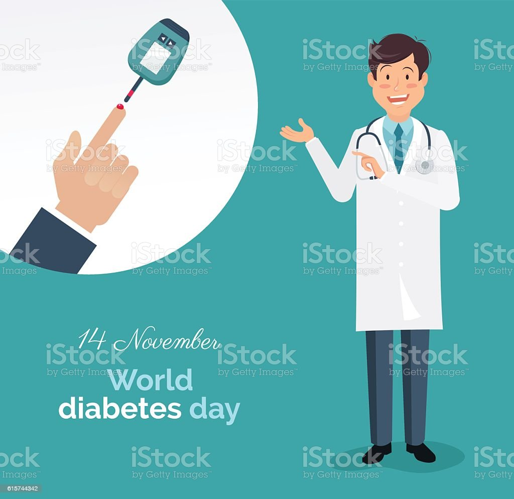 doctor with lab coat showing how to measure diabetes. vector art illustration