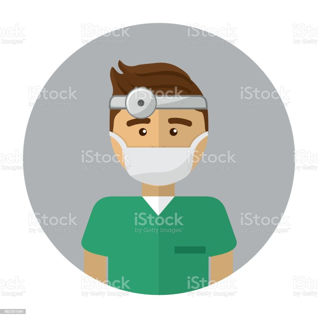doctor with medical mask and reflector vector art illustration