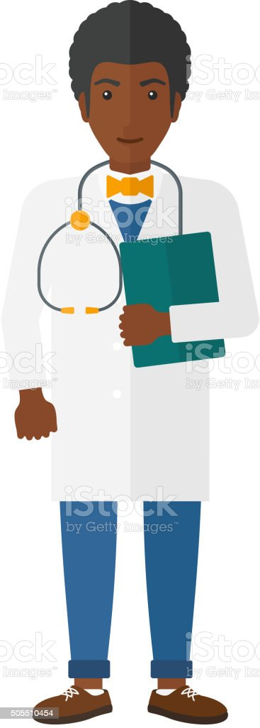 Doctor with stethoscope and file vector art illustration