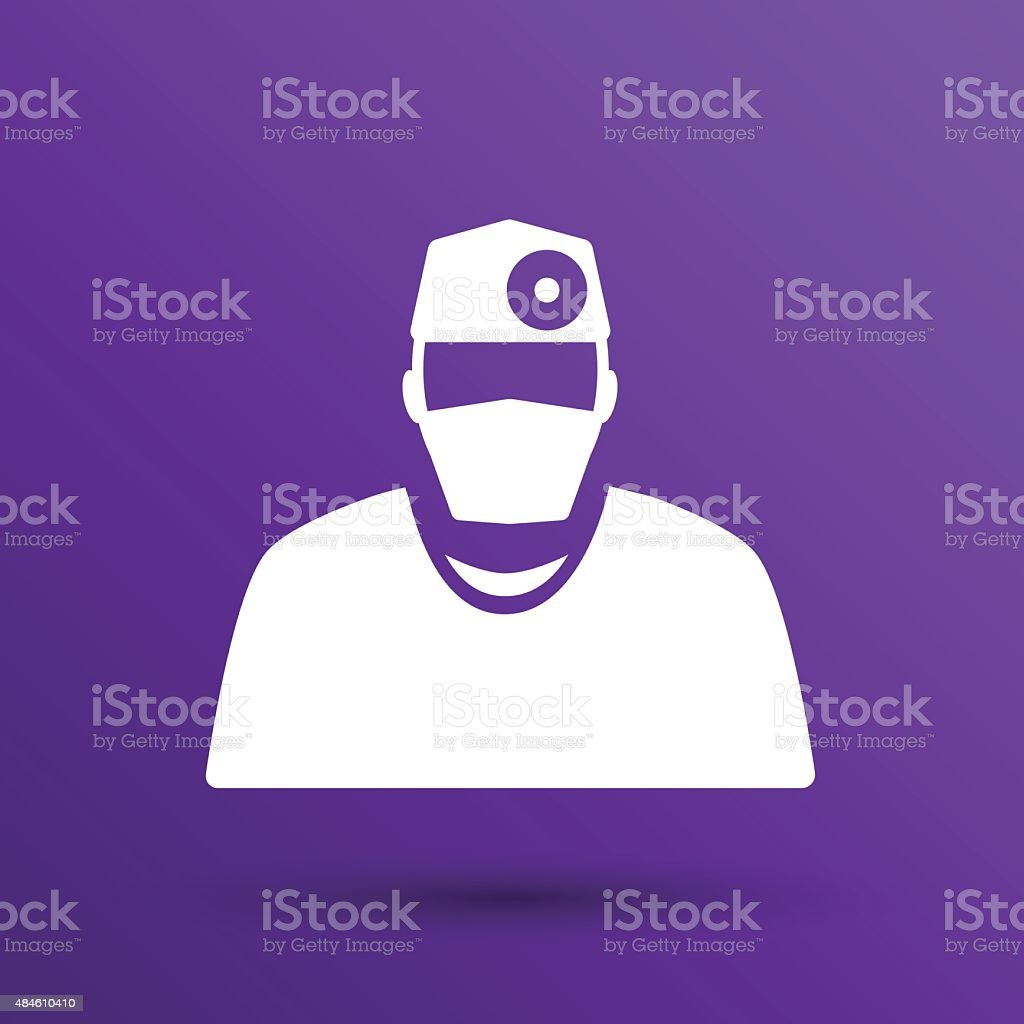 Doctor with stethoscope around his neck icon vector art illustration