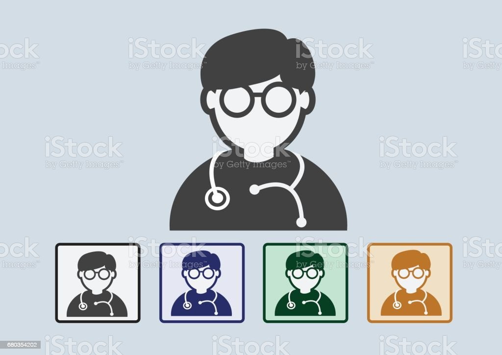 Doctor with stethoscope web icon vector art illustration