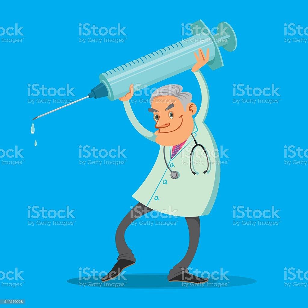 doctor with syringe vector art illustration