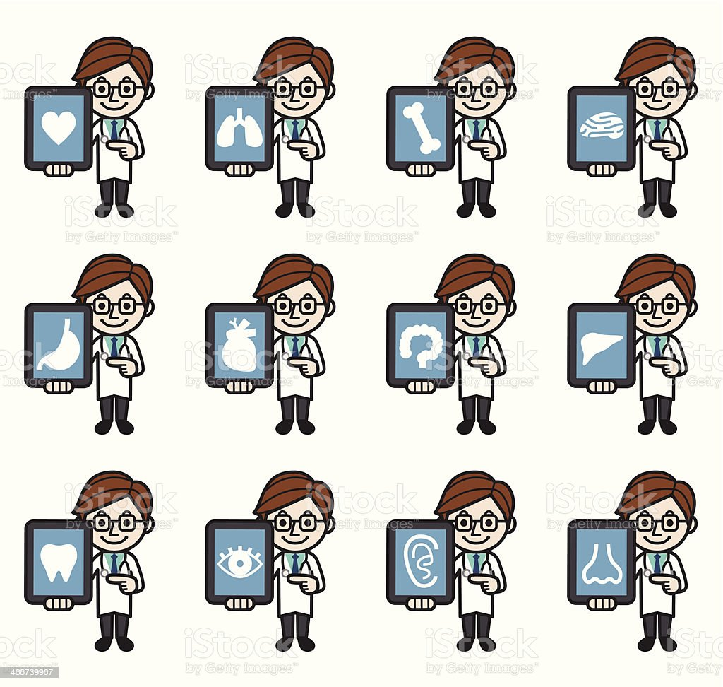 Doctor with tablet PC royalty-free stock vector art