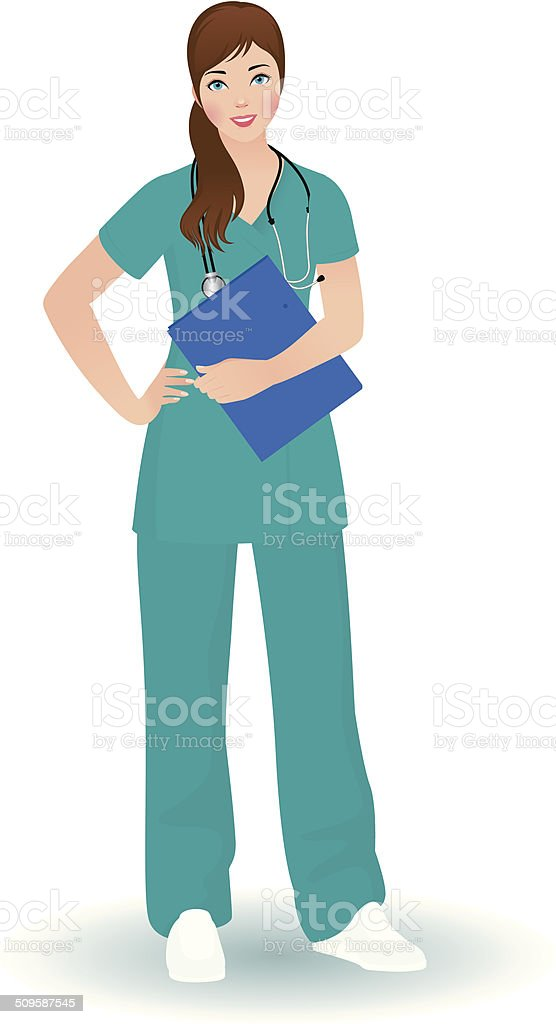Doctor woman in a full length on a white background vector art illustration