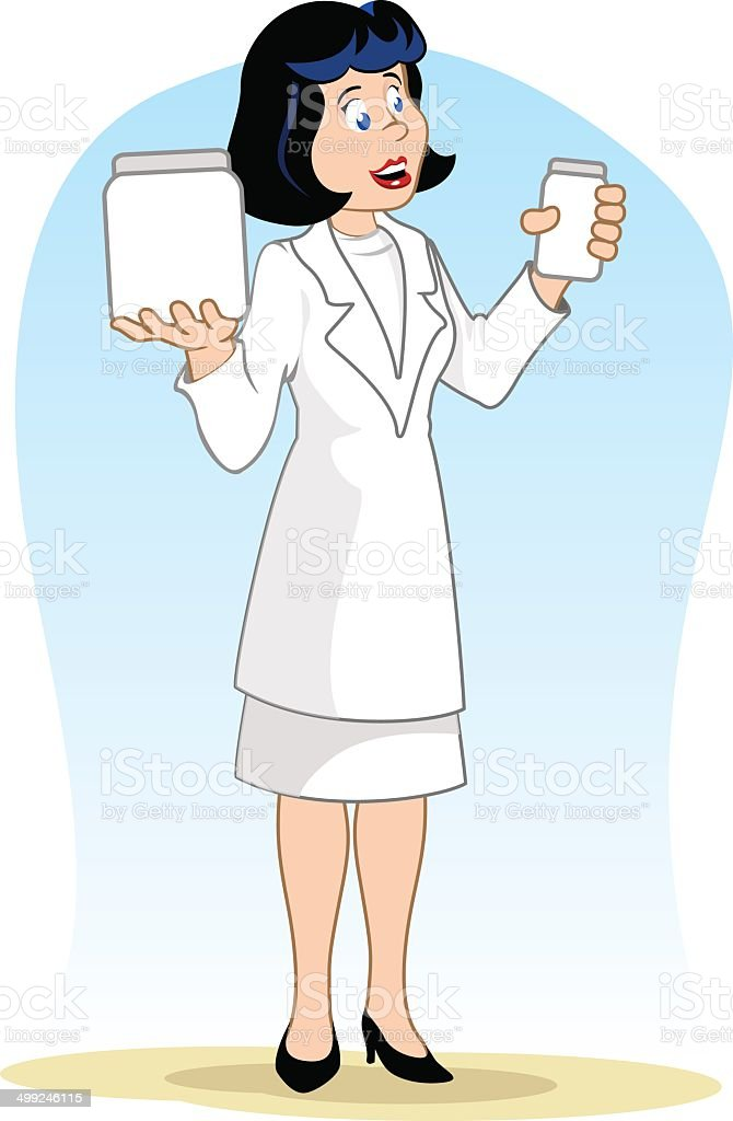Doctor woman with packages royalty-free stock vector art