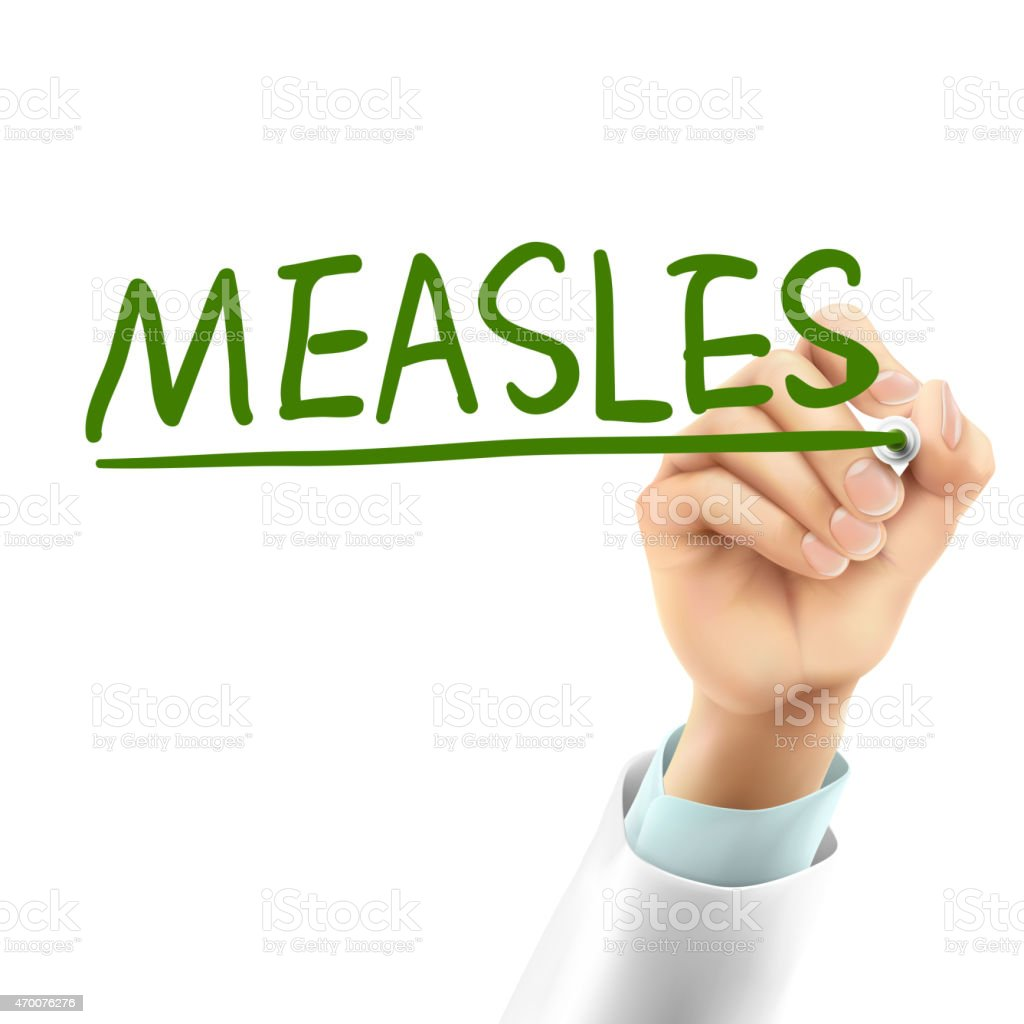 doctor writing measles word vector art illustration