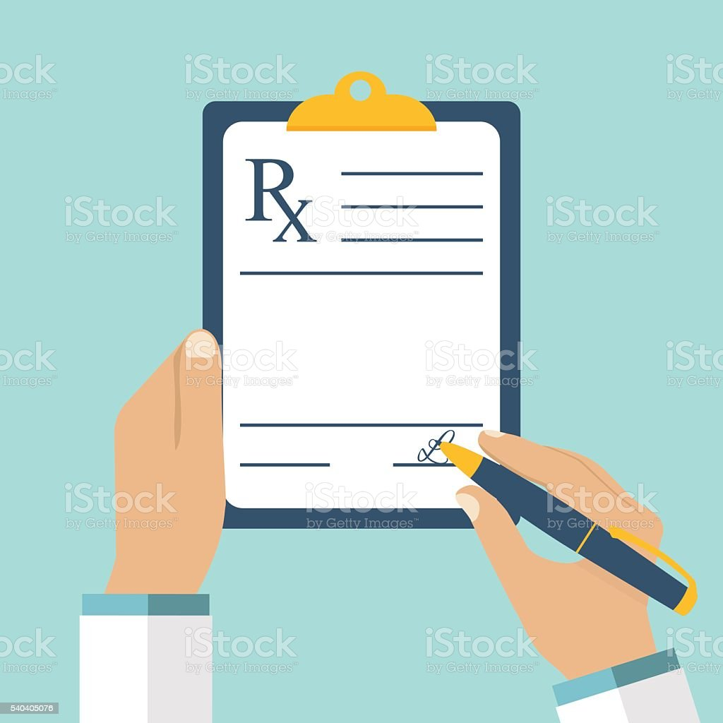 Doctor writing prescription. vector art illustration