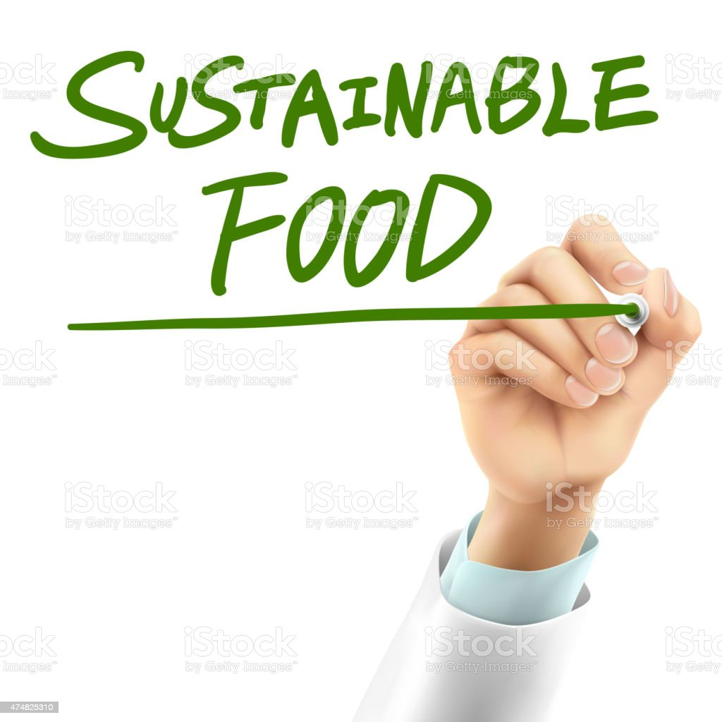 doctor writing sustainable food words vector art illustration