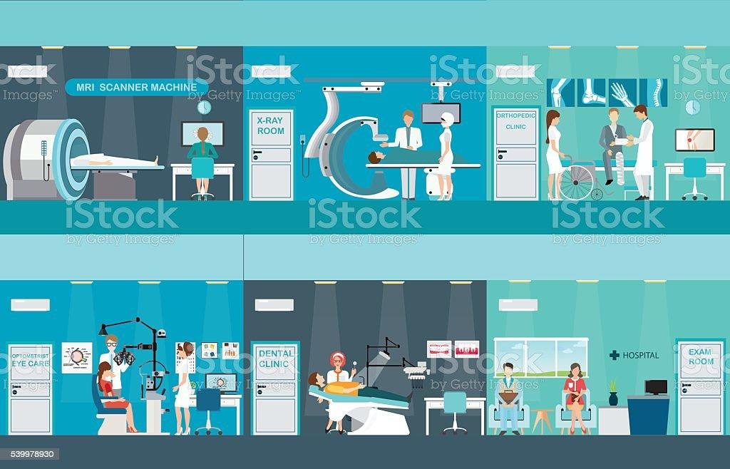 Doctors and patients in hospitals. vector art illustration