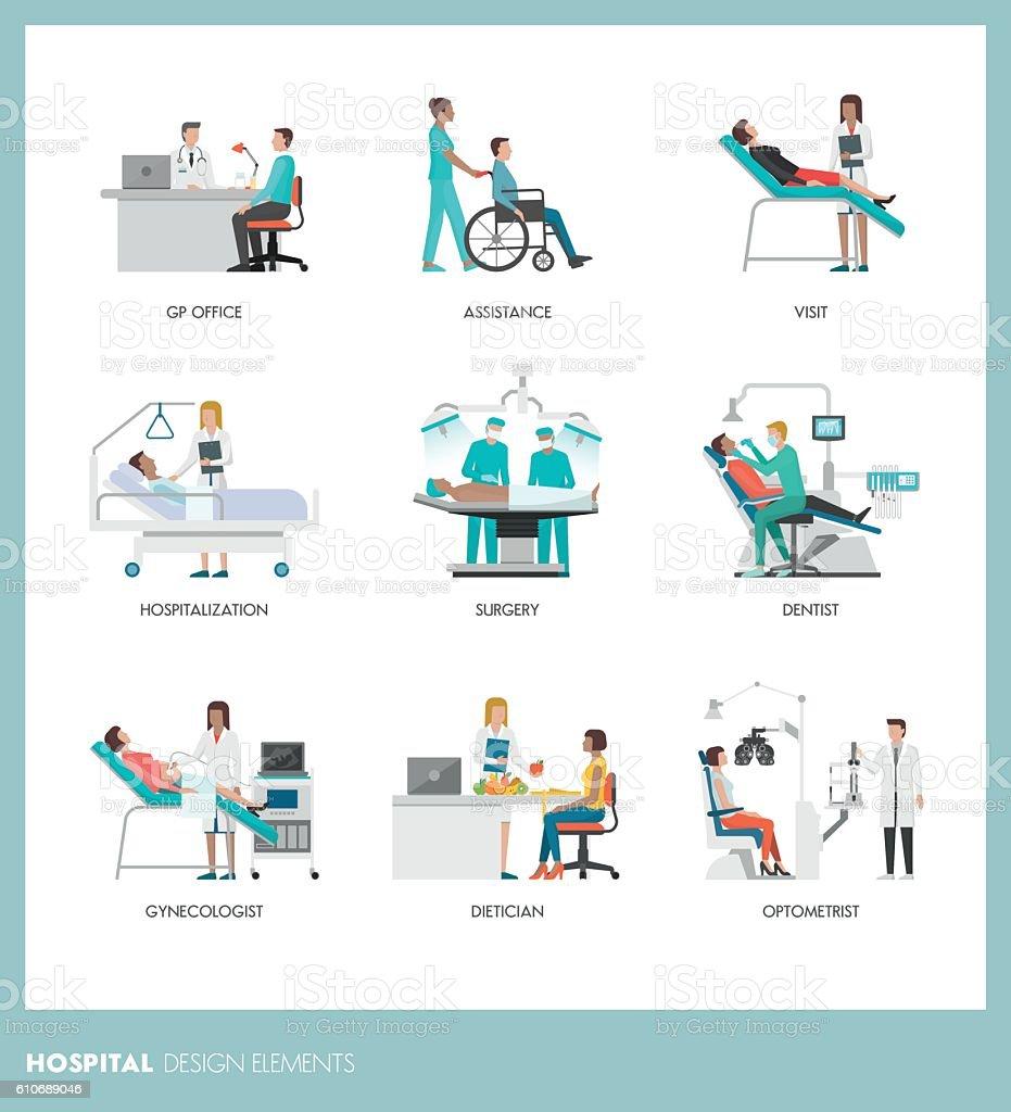 Doctors and patients vector art illustration