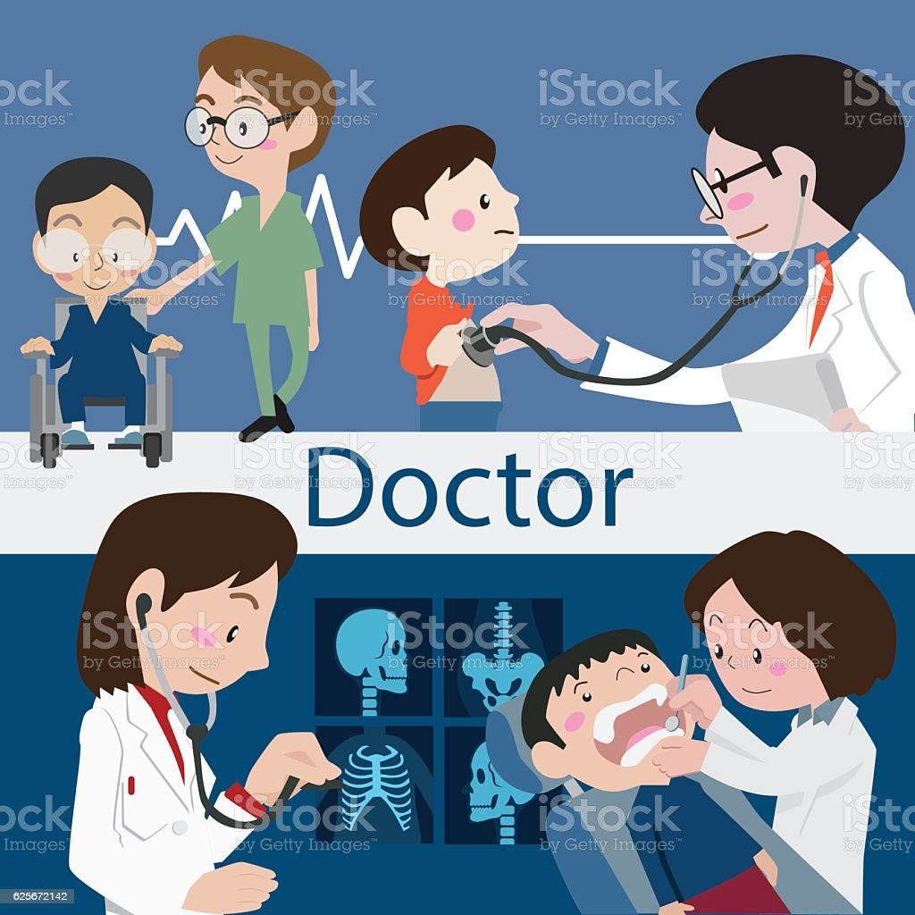 Doctors and staff illustration vector vector art illustration
