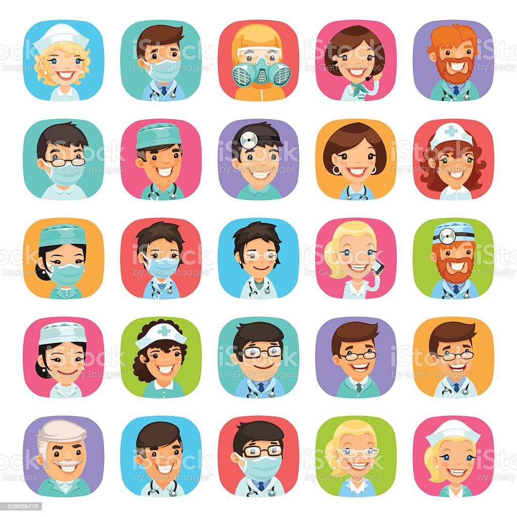 Doctors Cartoon Characters Icons Set vector art illustration