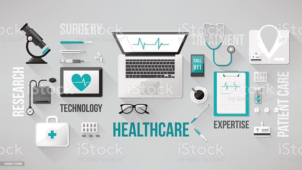 Doctor's desktop vector art illustration