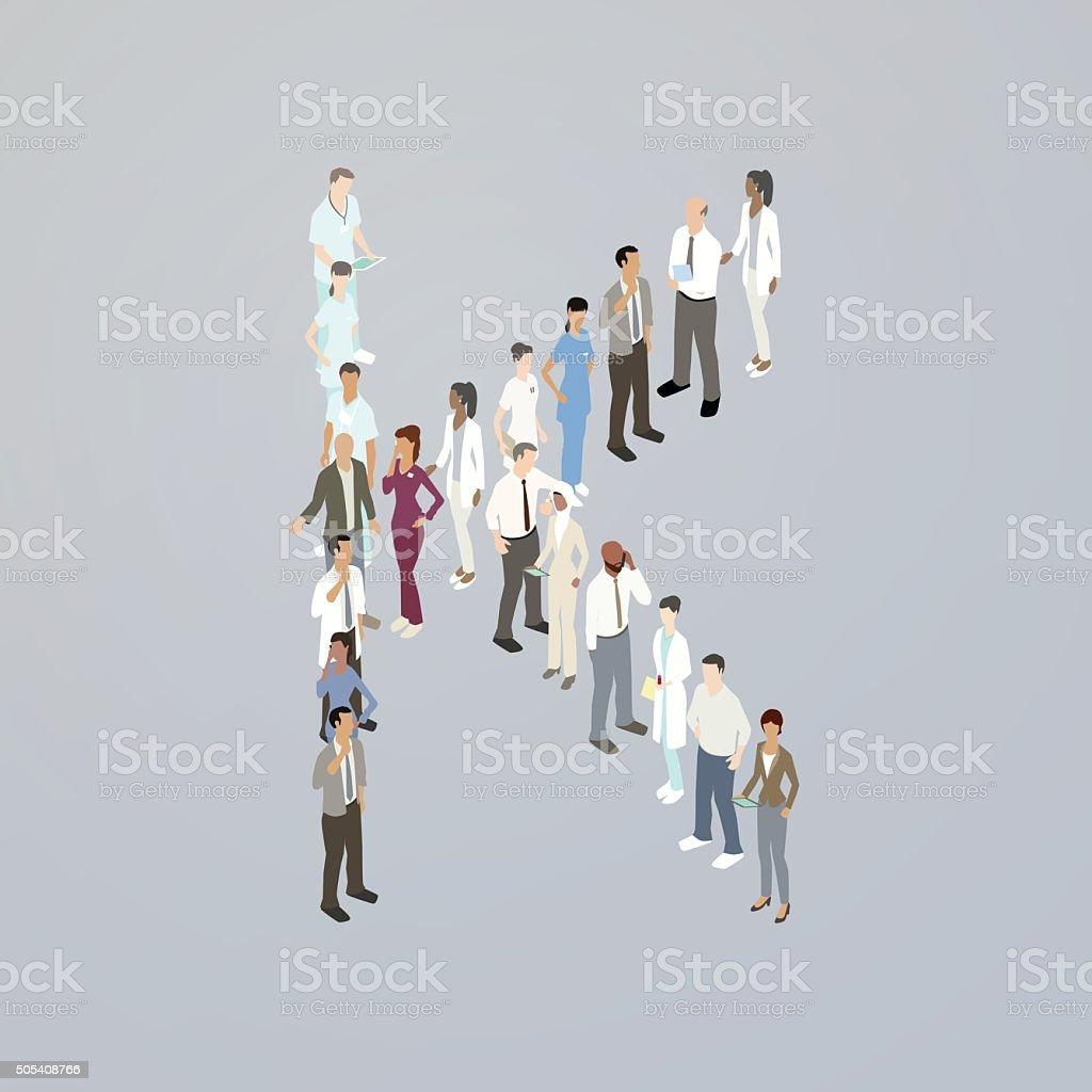 Doctors forming a letter K vector art illustration