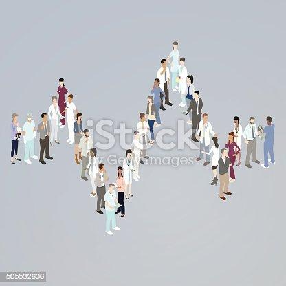 Doctors forming EKG