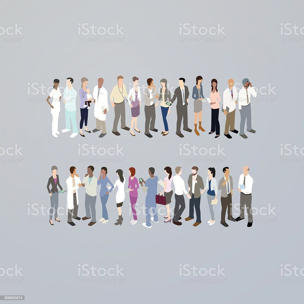 Doctors forming an equals sign vector art illustration