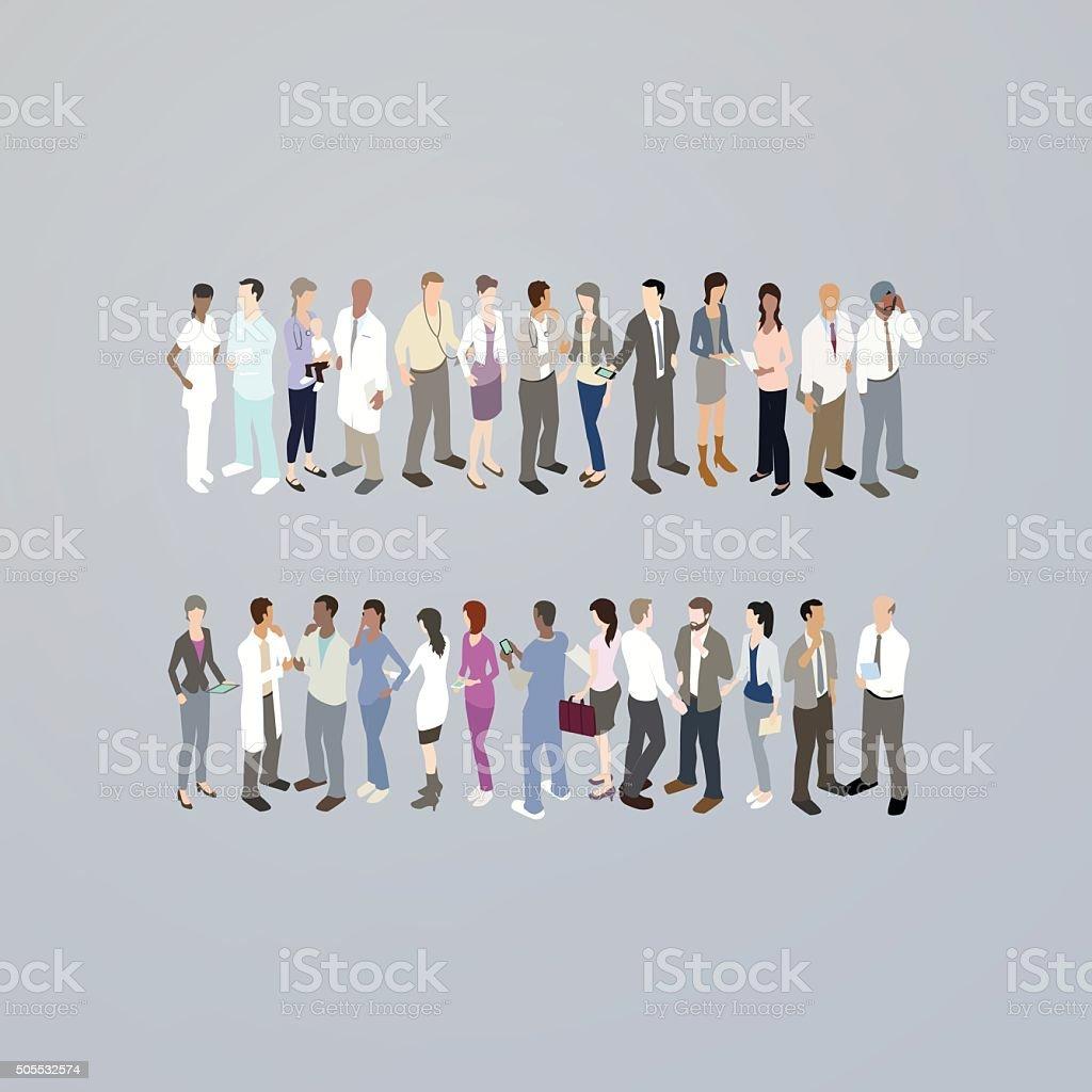 Doctors forming an equals sign vector art illustration
