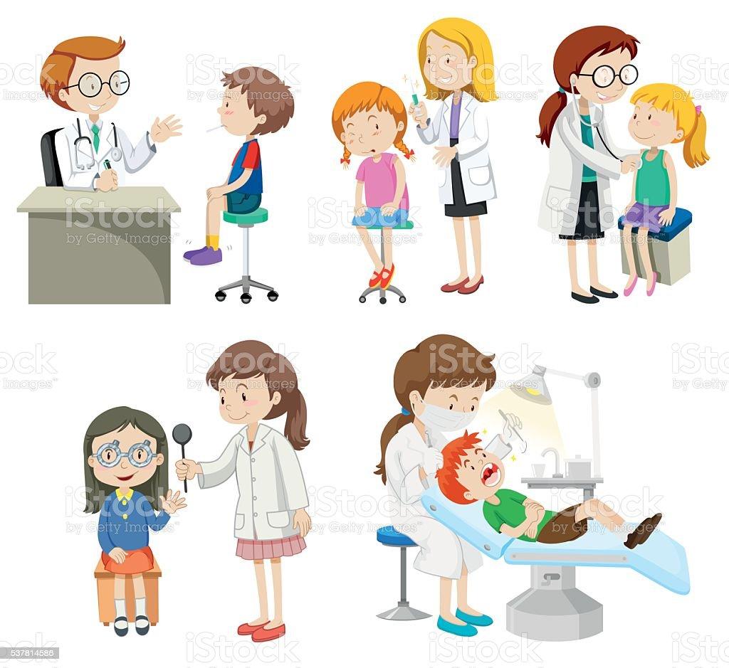 Doctors giving treatment to patients vector art illustration