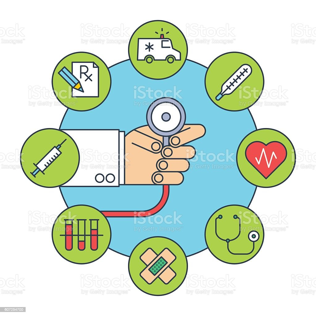 Doctor's hand with a stethoscope. Flat line illustration. vector art illustration