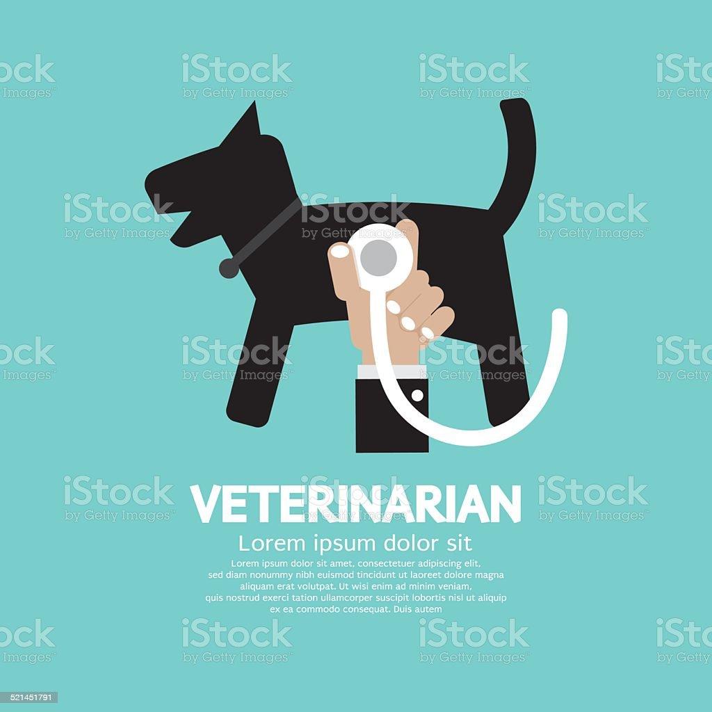 Doctor's Hand With Stethoscope Checking On Dog's Body Veterinari vector art illustration