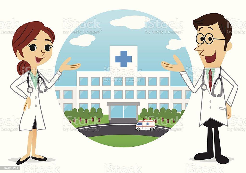 Doctors & Hospital vector art illustration