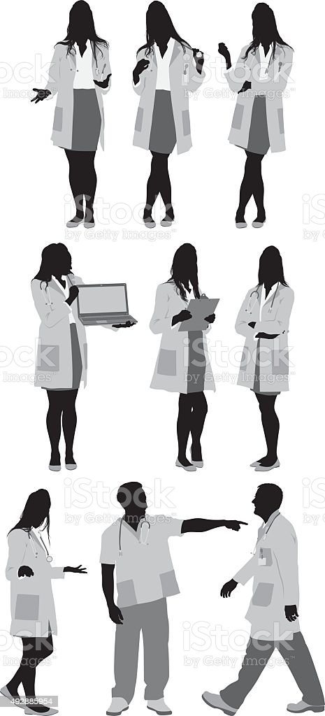 Doctors in various action vector art illustration