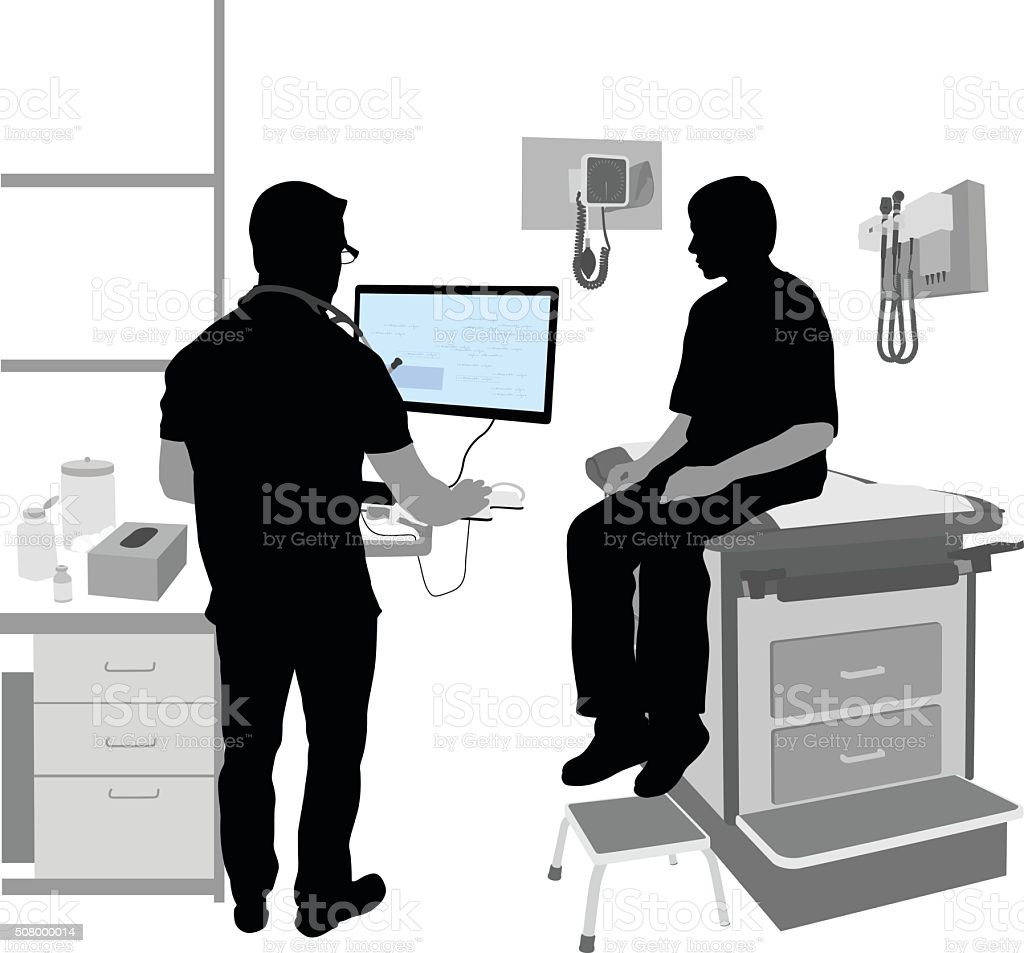 Doctor's Office Computer vector art illustration