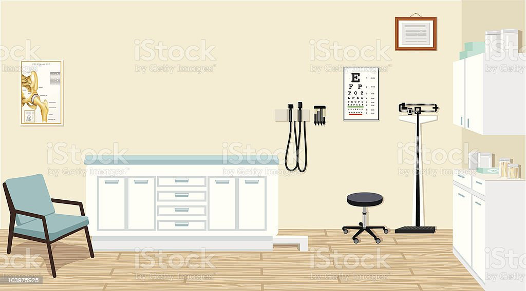 Doctor's Office with Medical Equipment and Cabinets Illustration royalty-free stock vector art