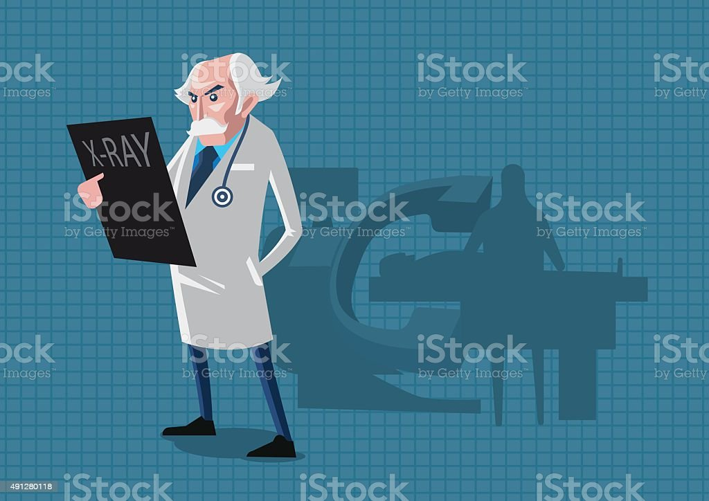 Doctors specialists stands rays. vector art illustration