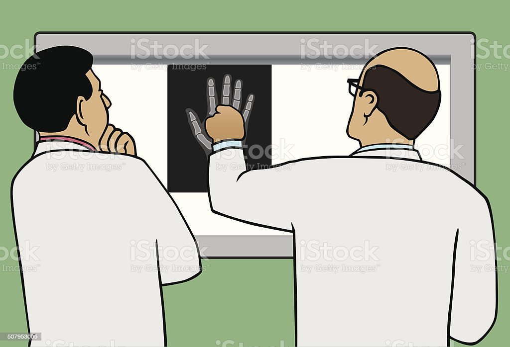Doctors Viewing X-Ray vector art illustration