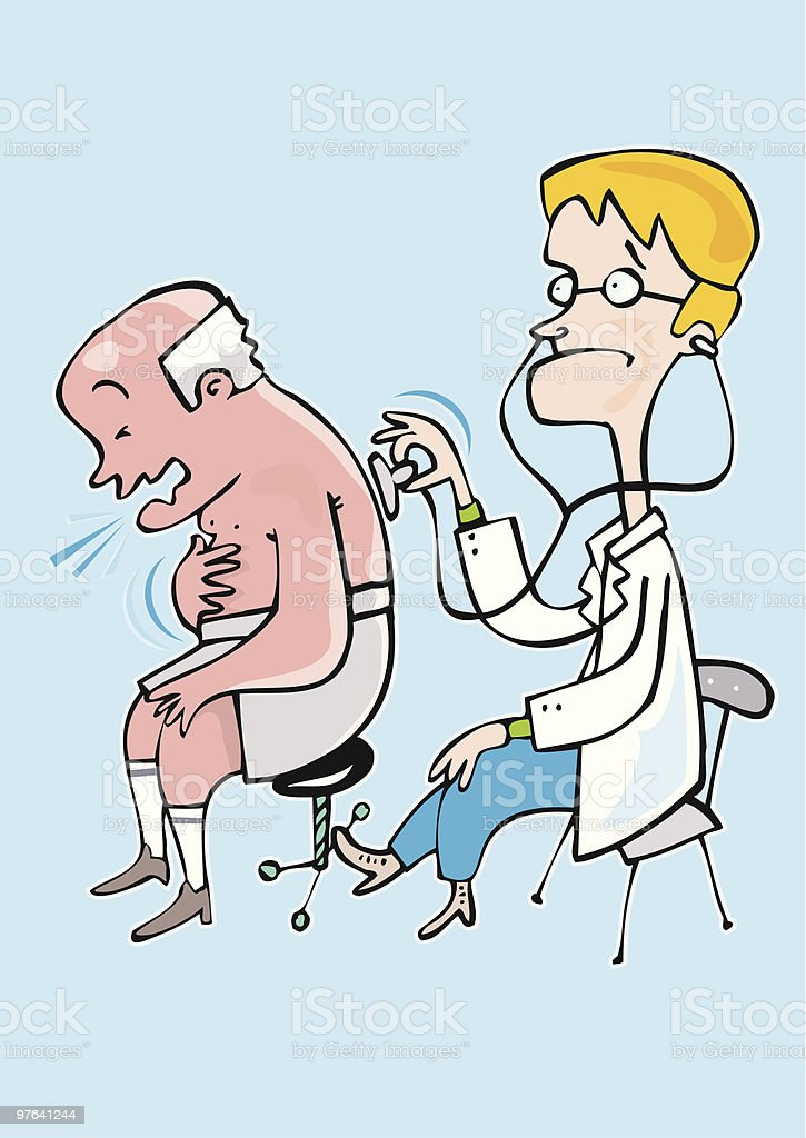 Doctors worried about the cough and cold of a patient vector art illustration