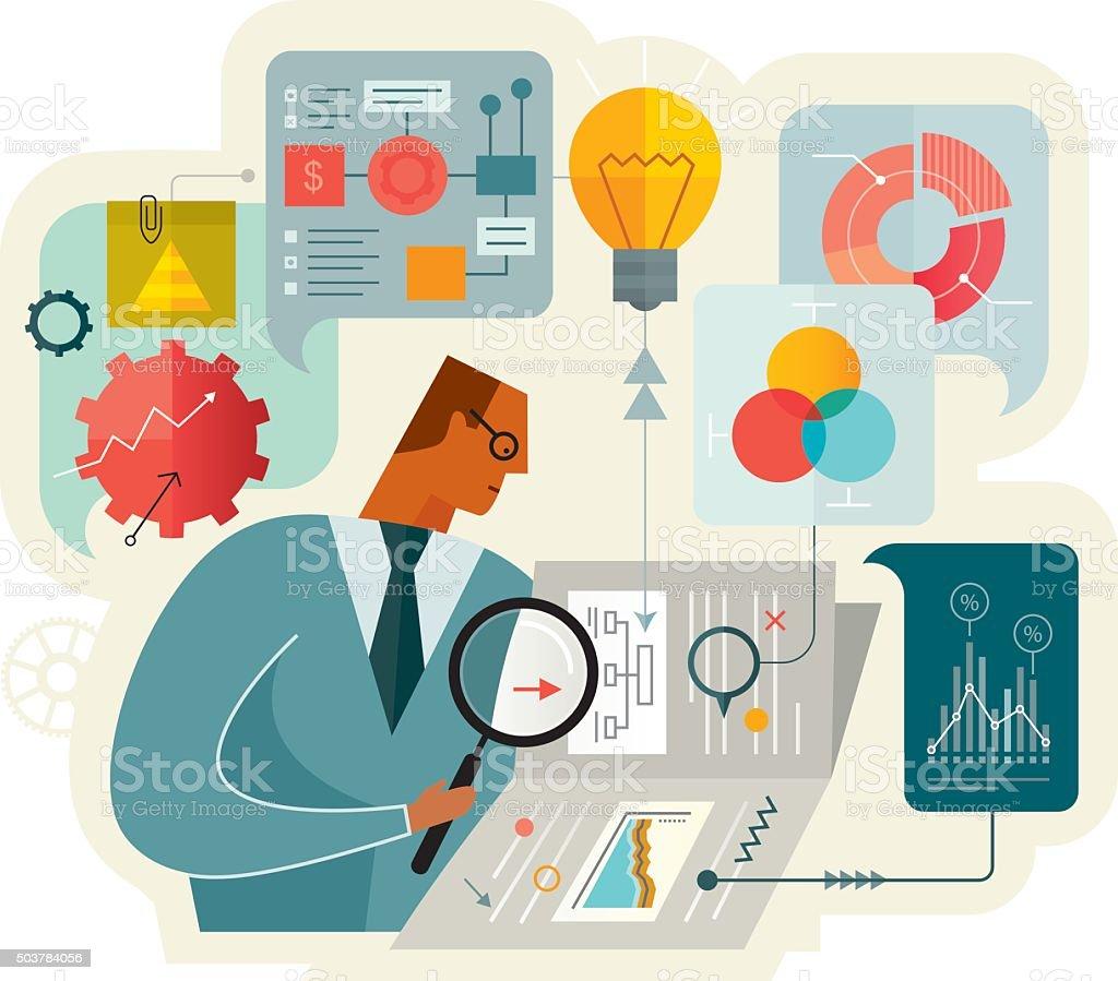 Document Analysis vector art illustration
